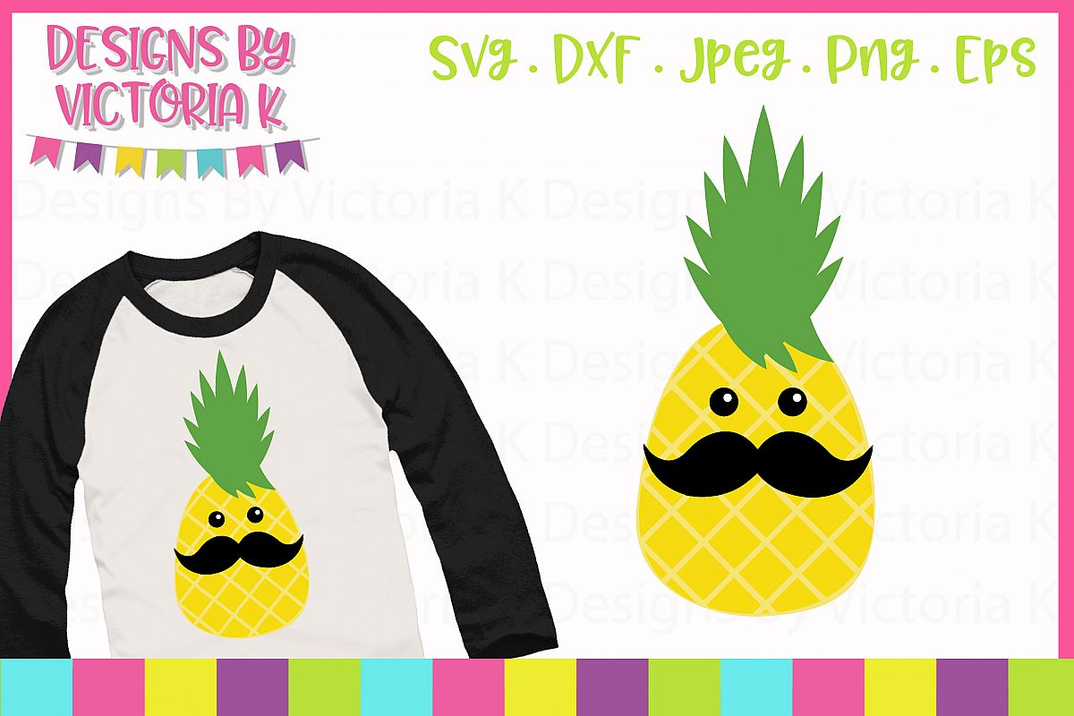 Pineapple with moustache, Summer SVG Cut File example image 1