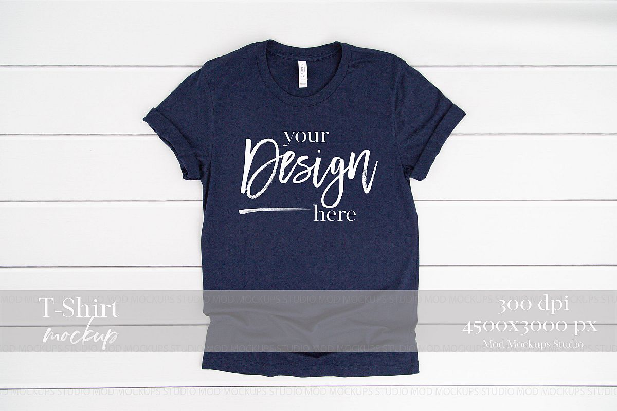 9c51a8501 Navy T-Shirt Mockup | 3001 Bella and Canvas Mockup example image 1