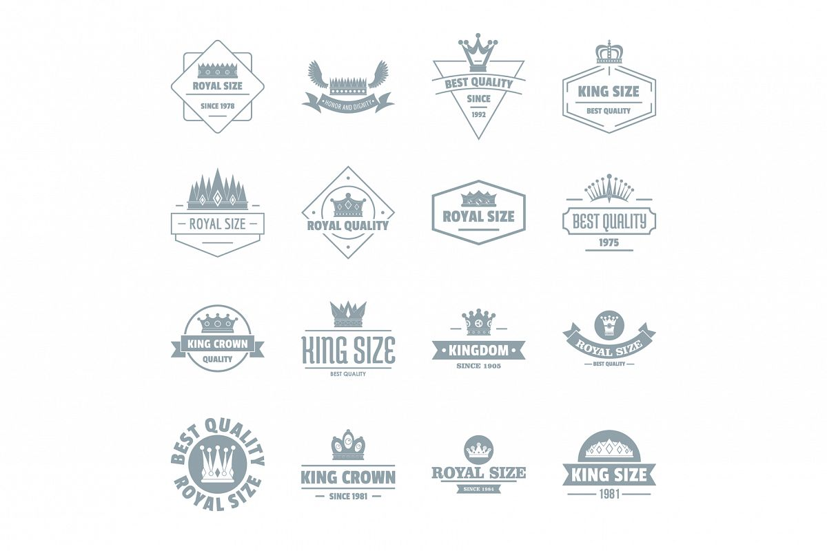Crown royal logo icons set, simple style example image 1