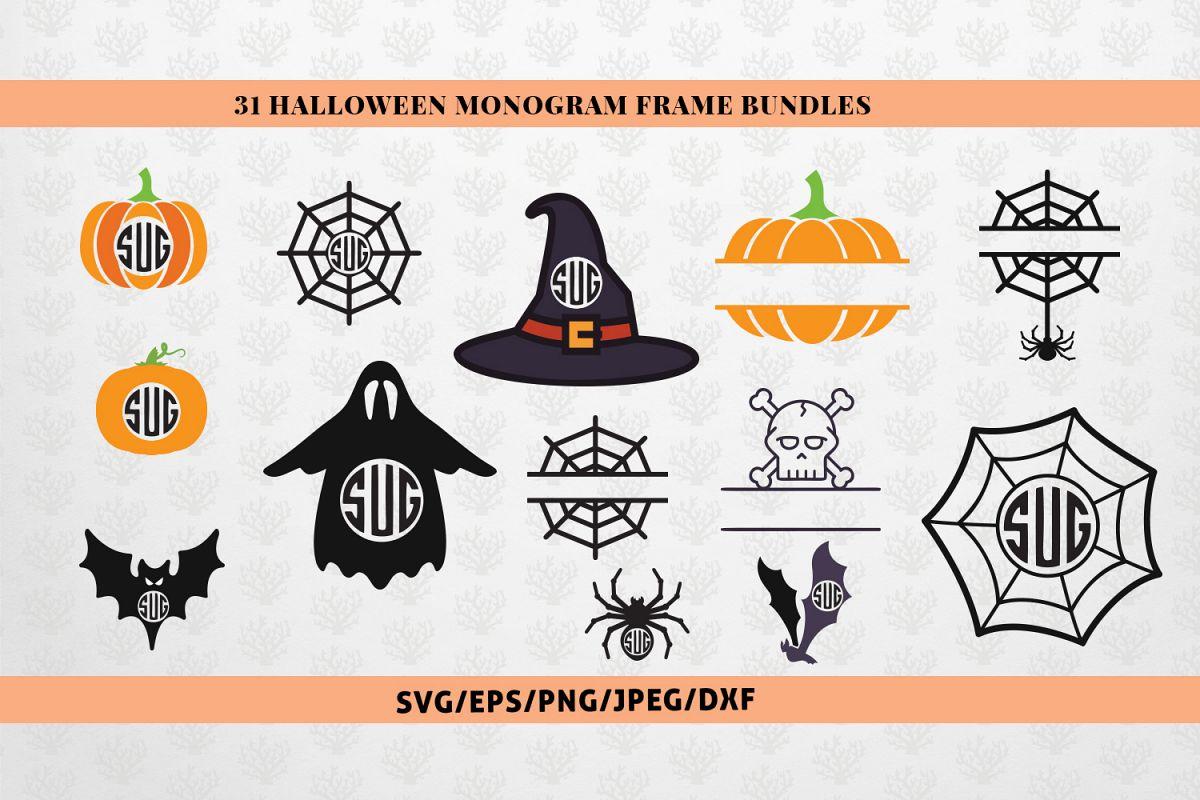 Big SVG Bundle - 31 Halloween Monogram Frame SVG EPS DXF PNG example image 1