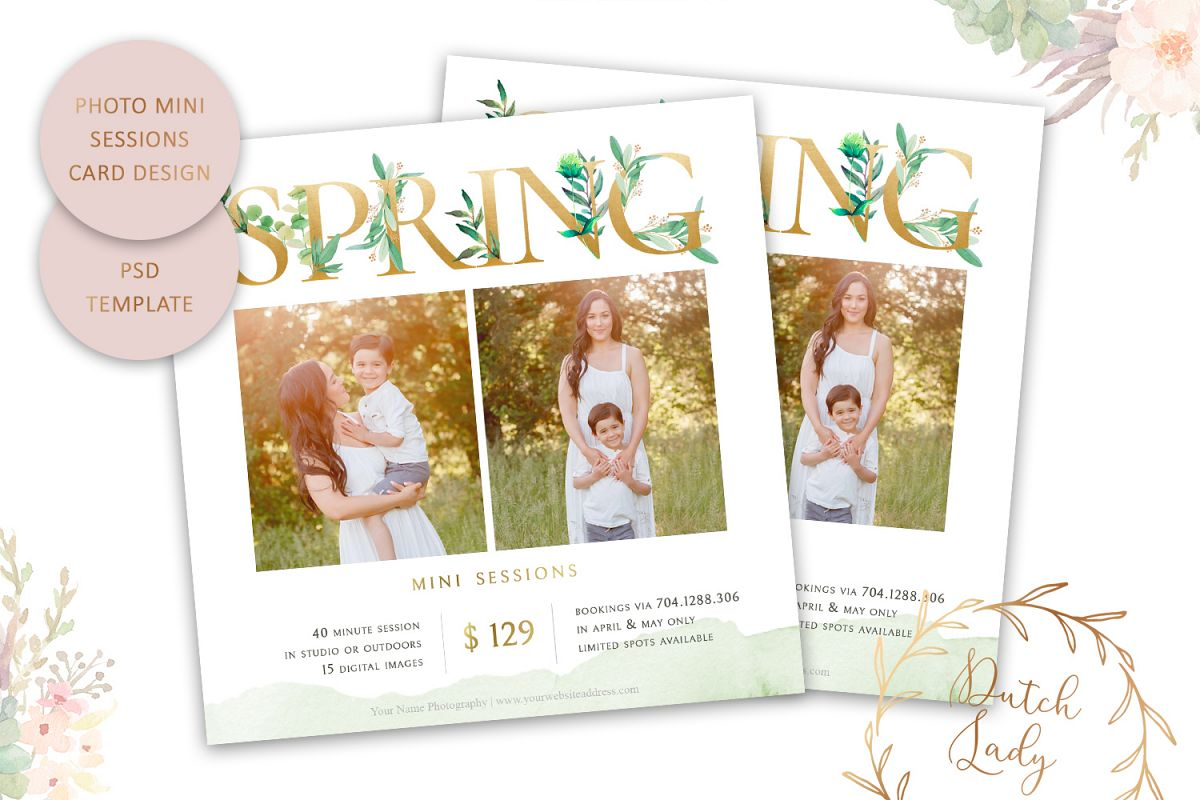 PSD Photo Spring Mini Session Card Template - Design #40 example image 1