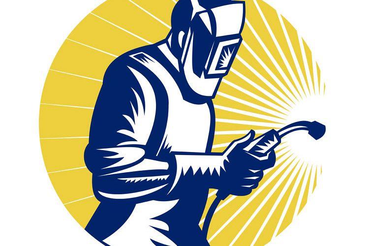 welder welding at work retro style example image 1