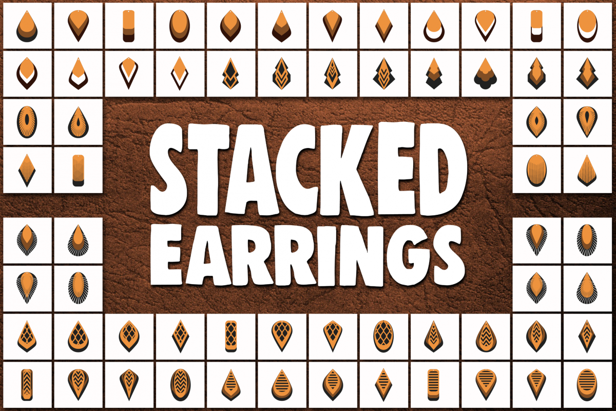 Download Stacked earrings template SVG - Cut files - leather earrings
