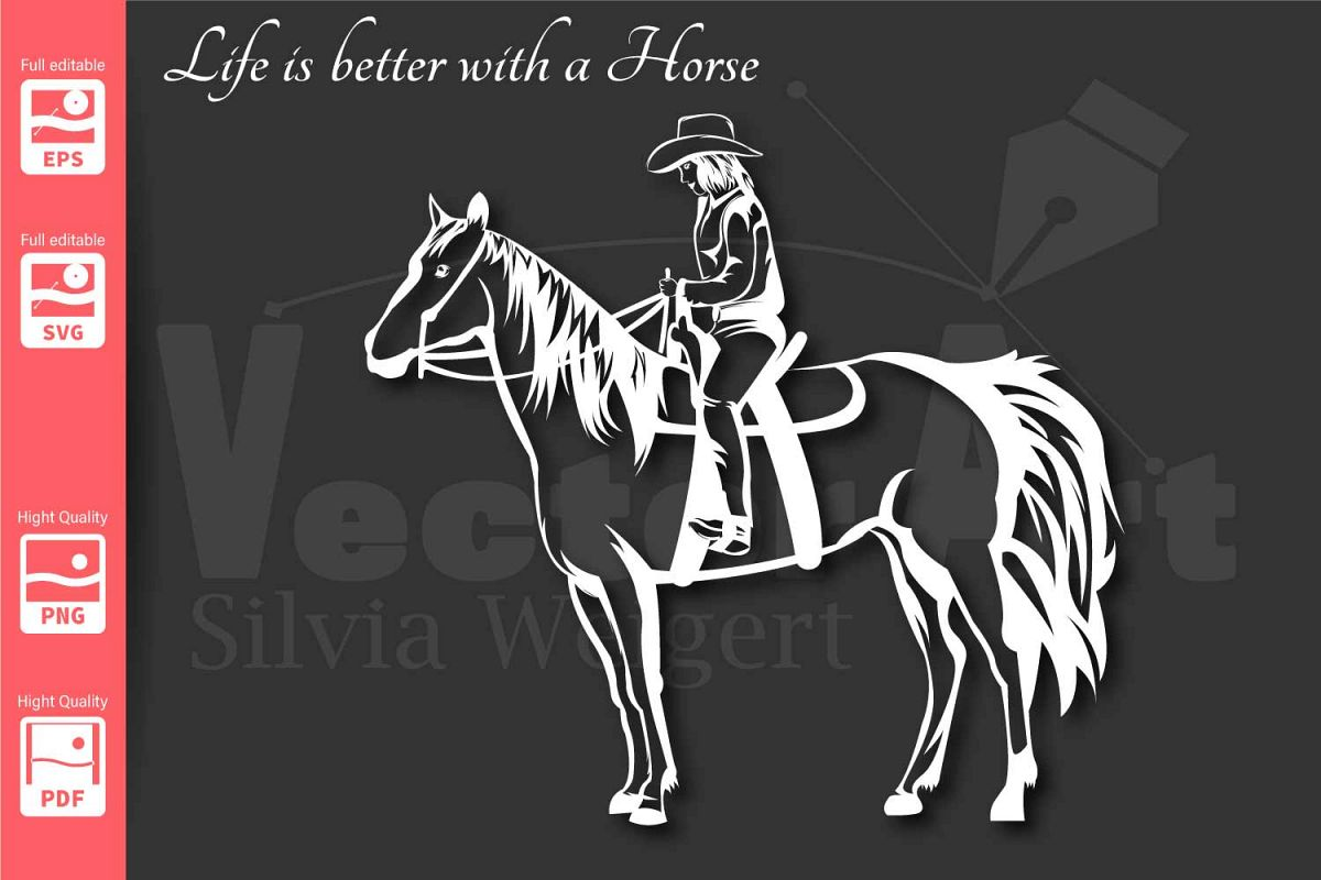 Cowgirl and Horse - SVG - example image 1