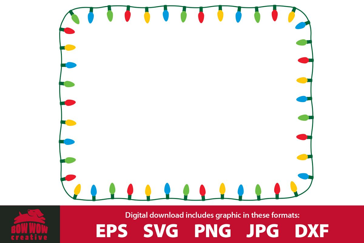String of Vintage / Retro Christmas Lights Border / Frame example image 1