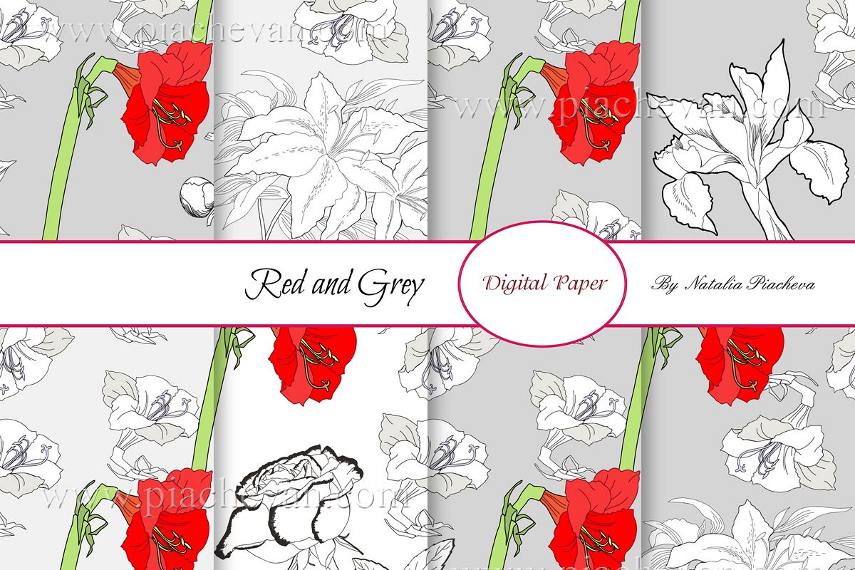 Digital Paper.Red and Grey example image 1