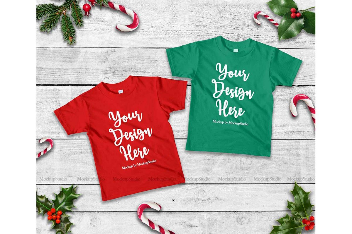Kids Christmas Shirts.Matching Christmas Kids Red And Kelly Green Shirts Mock Up