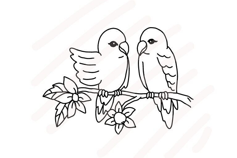 Love Birds Line Drawing - SVG/JPG/PNG Hand Drawing example image 1
