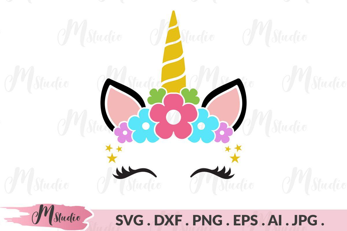 Unicorn Head floral svg example image 1