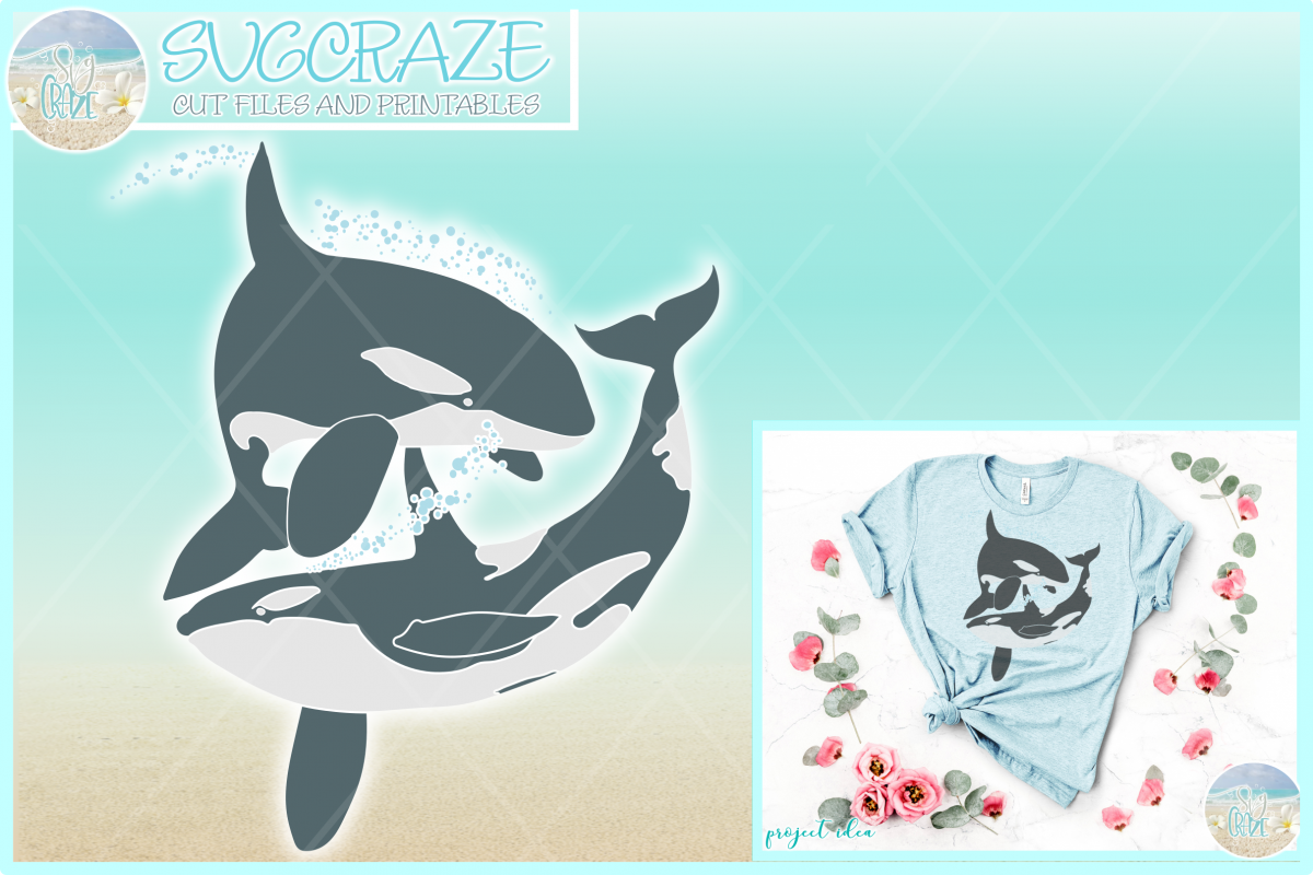 Orcas At Play Killer Whale Nautical Ocean Animal SVG example image 1