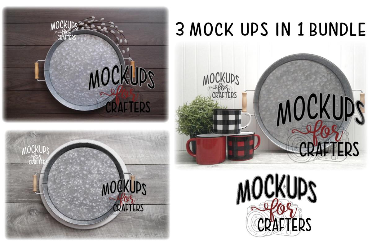 Round metal trays bundle - DOLLARAMA - MOCK-UP example image 1