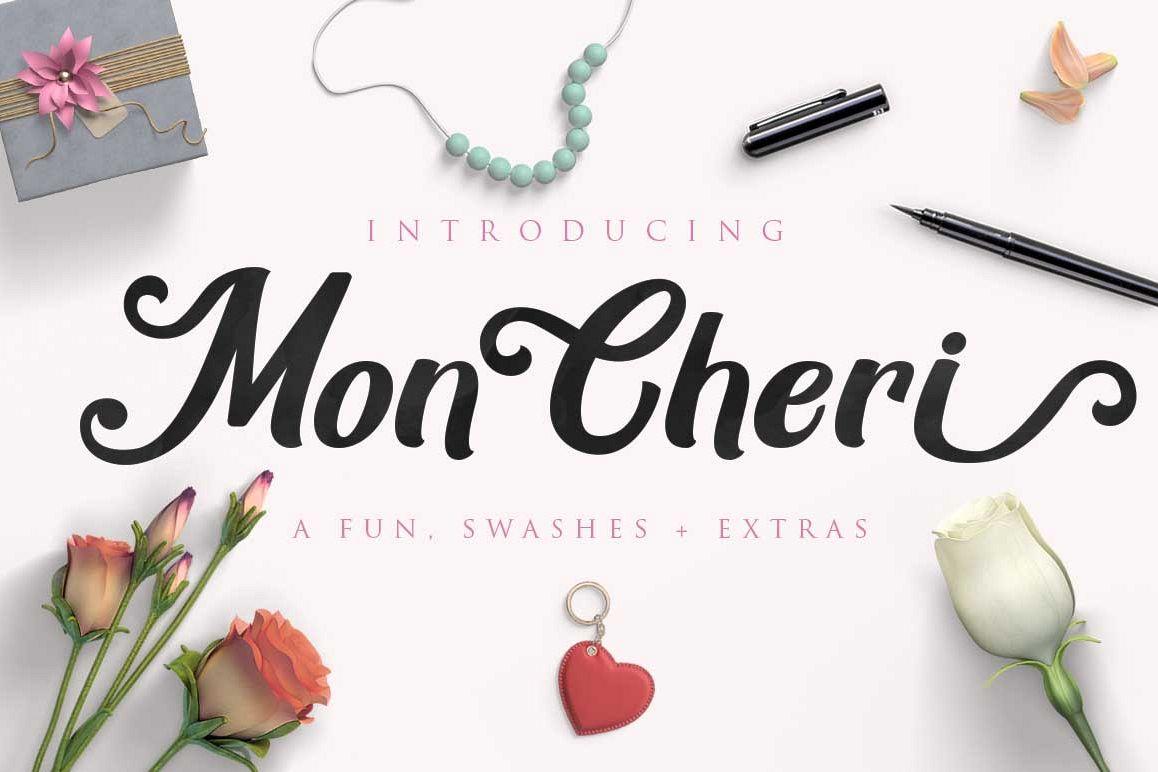 Mon Cheri Typeface + Extras example image 1