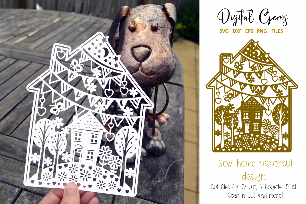 New home paper cut design. SVG / DXF / EPS / PNG example image 1