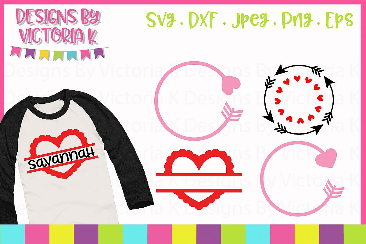 Valentine's Day Monogram Frame SVG Cut Files example image 1