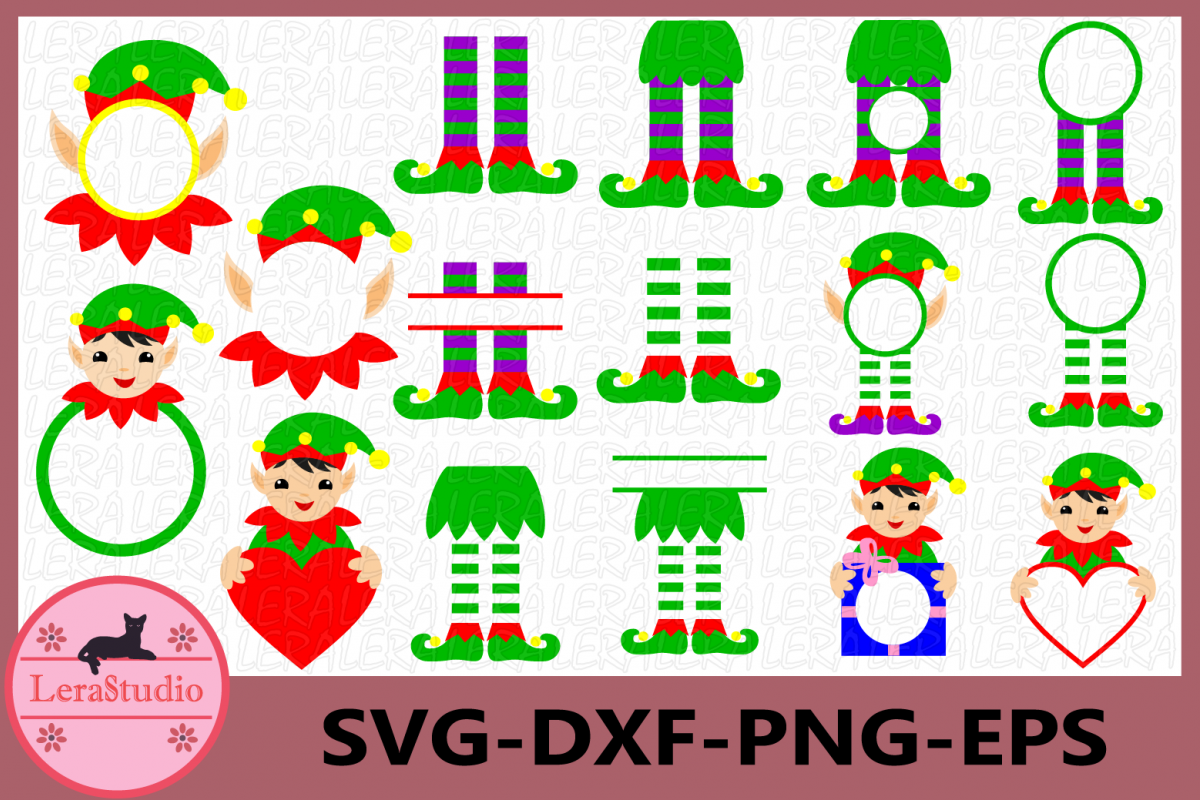 Christmas Monogram Frame, Elf Monogram SVG, Elf legs svg example image 1