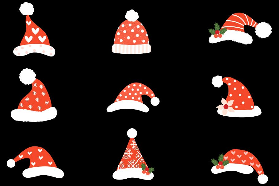 Cute Christmas Pictures.Hipster Santa Hats Clipart Cute Christmas Clip Art