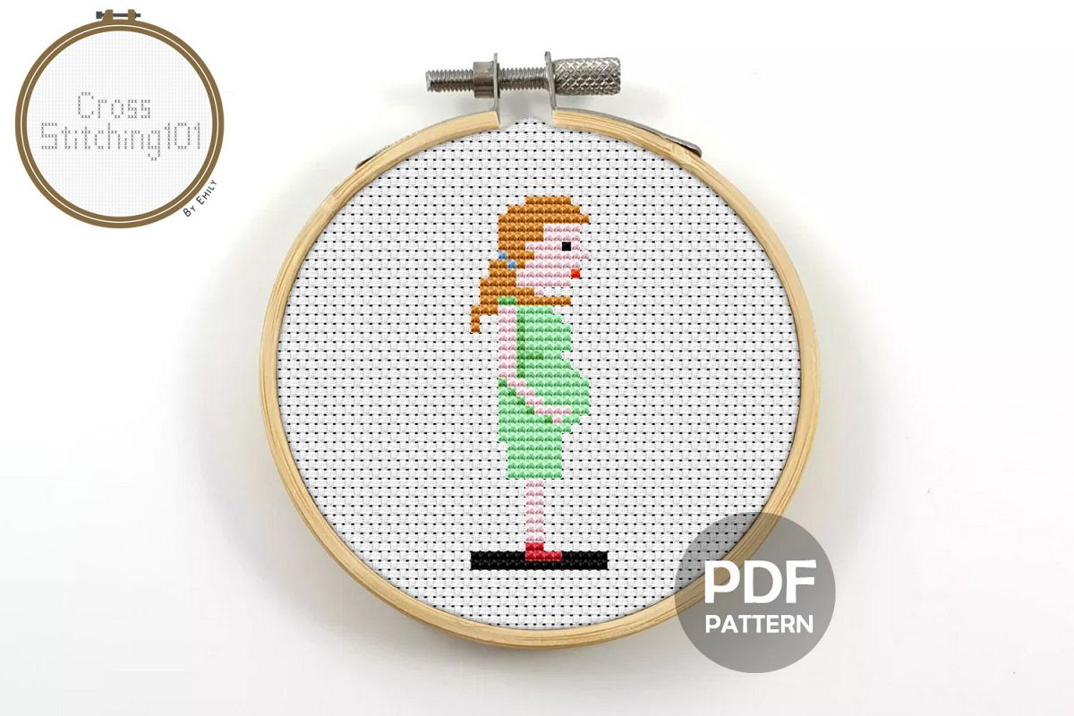 Pregnant Woman Cross Stitch Pattern - Instant Download PDF example image 1