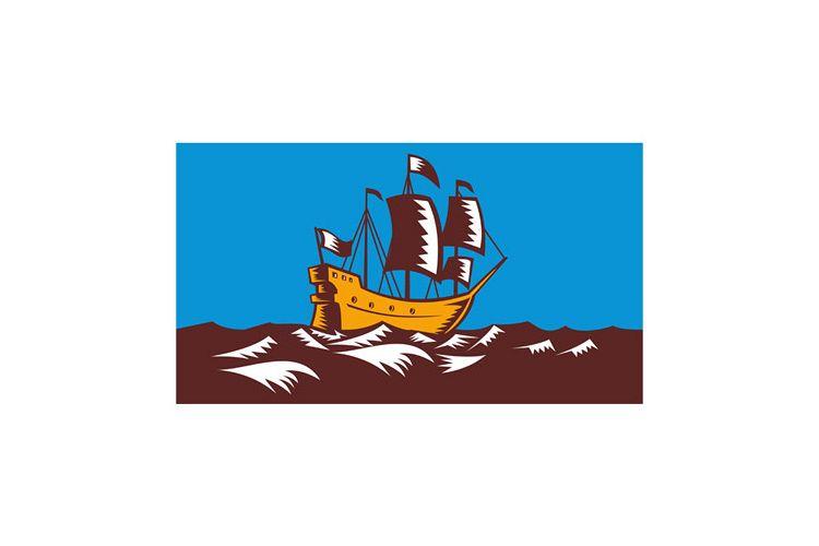 Tall Sailing Ship Retro Woodcut example image 1