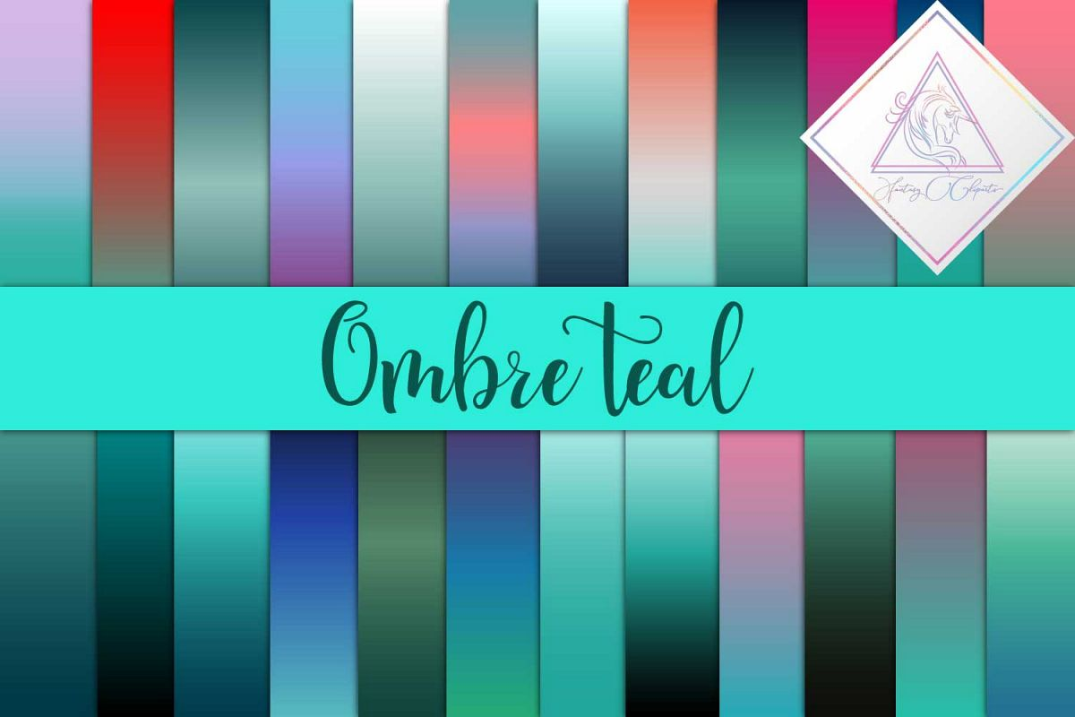 Ombre Teal Digital Paper example image 1