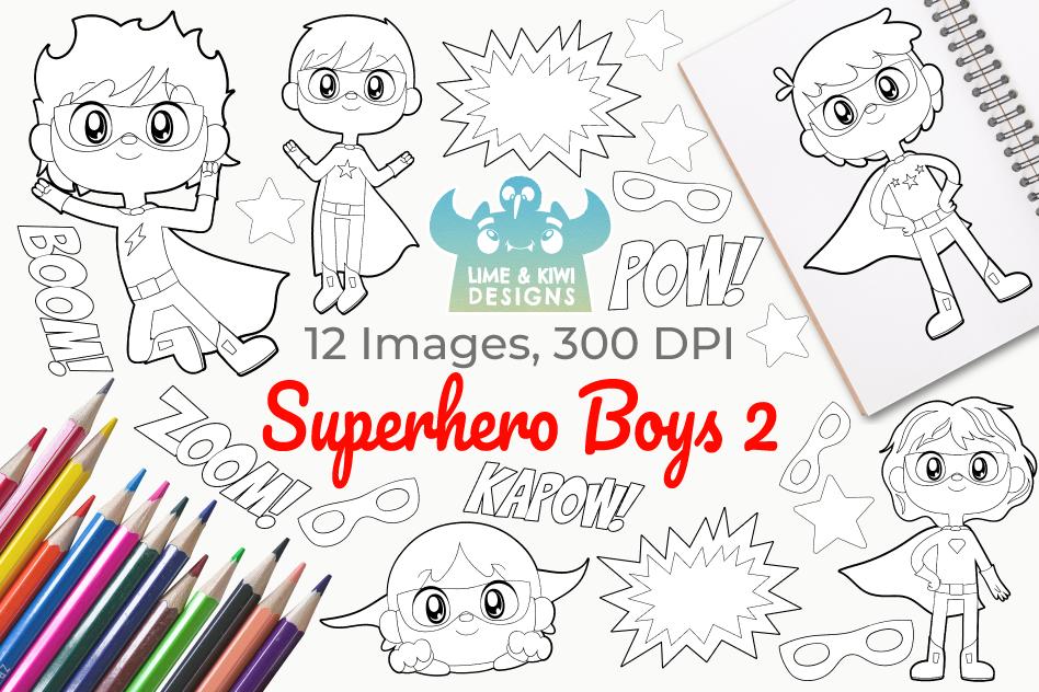 Superhero Boys 2 Digital Stamps example image 1