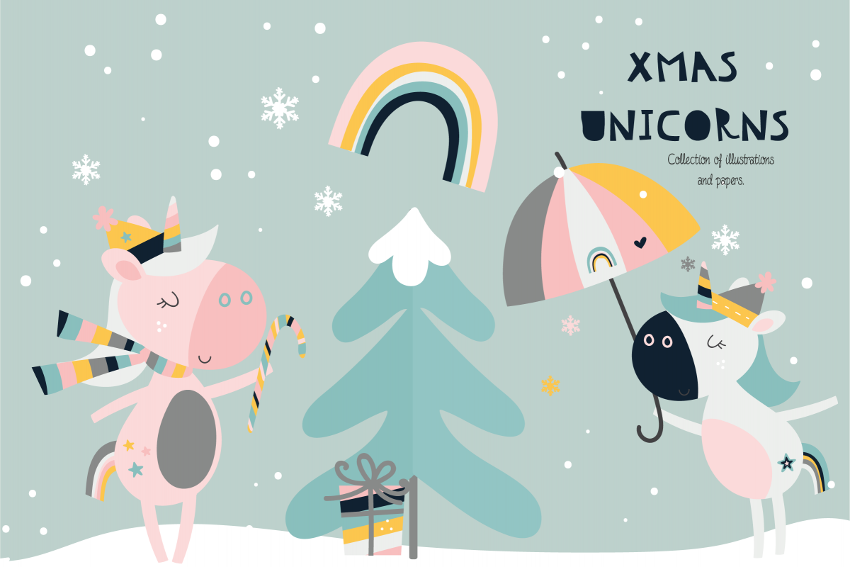 Xmas Unicorns clipart and paper set example image 1