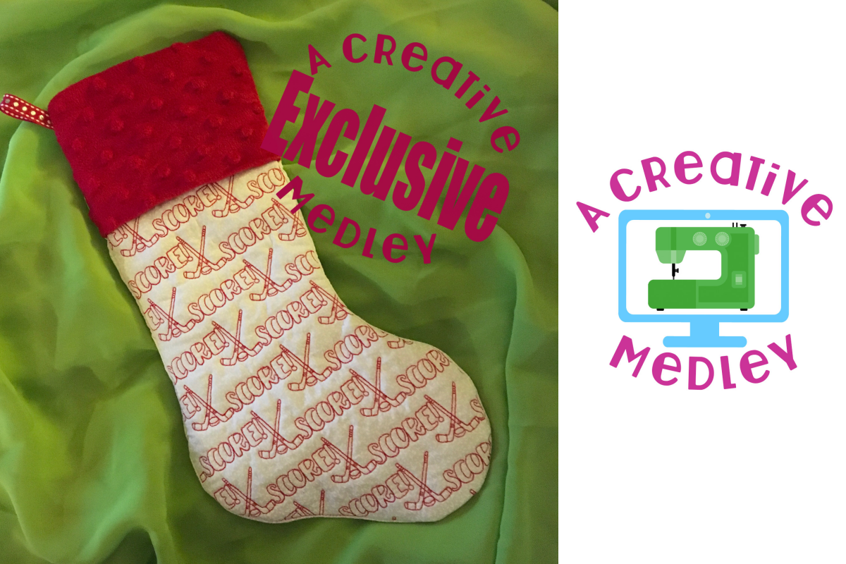 In the hoop Stocking with Cuff and Hockey Motif example image 1