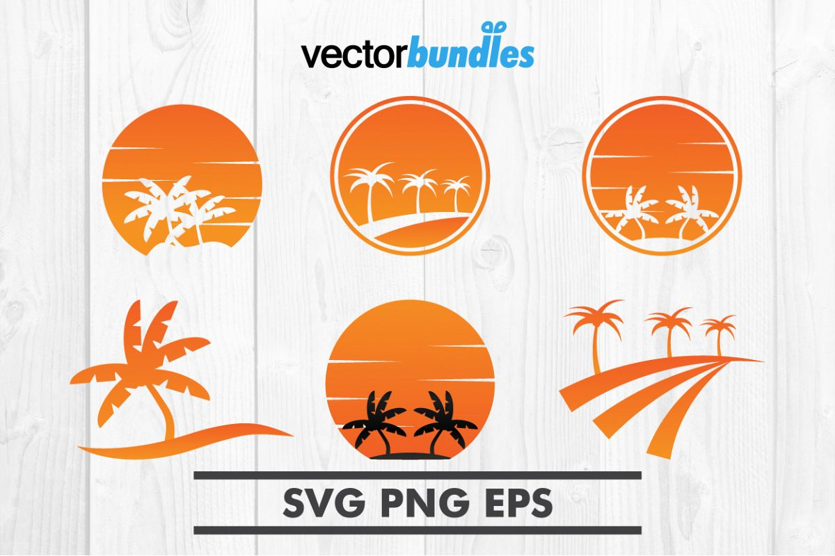 Summer palm tree clip art svg example image 1