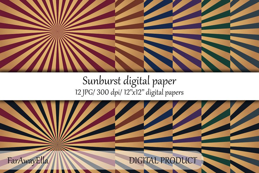 Vintage sunburst digital paper pack   12 JPG digital papers example image 1
