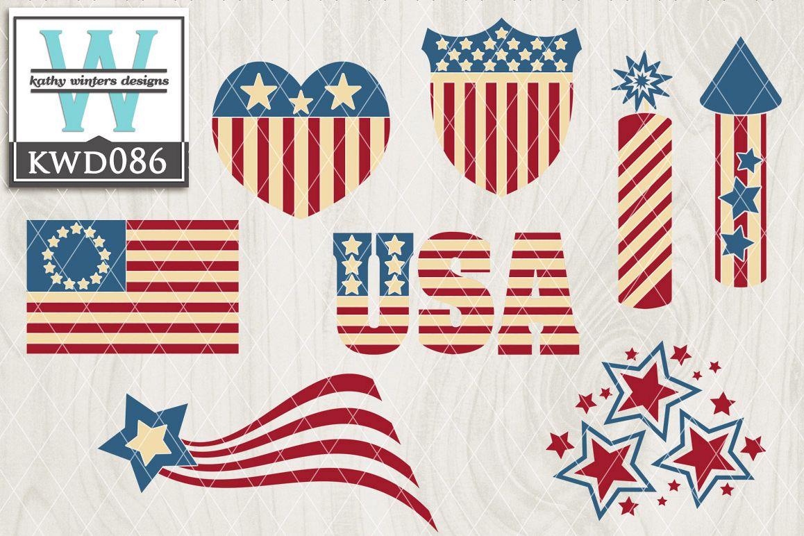 Patriotic Cutting File KWD086 example image 1
