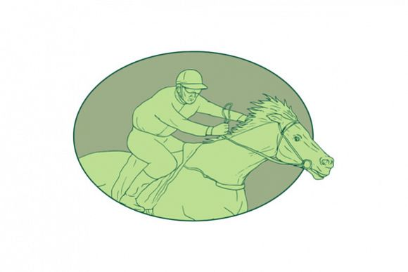 Horse Jockey Racing Oval Drawing example image 1