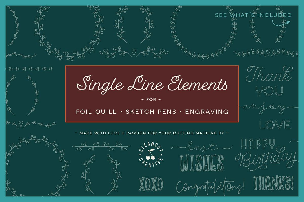 Single Line | Foil Quill | Sketch | Engrave SVG design file example image 1