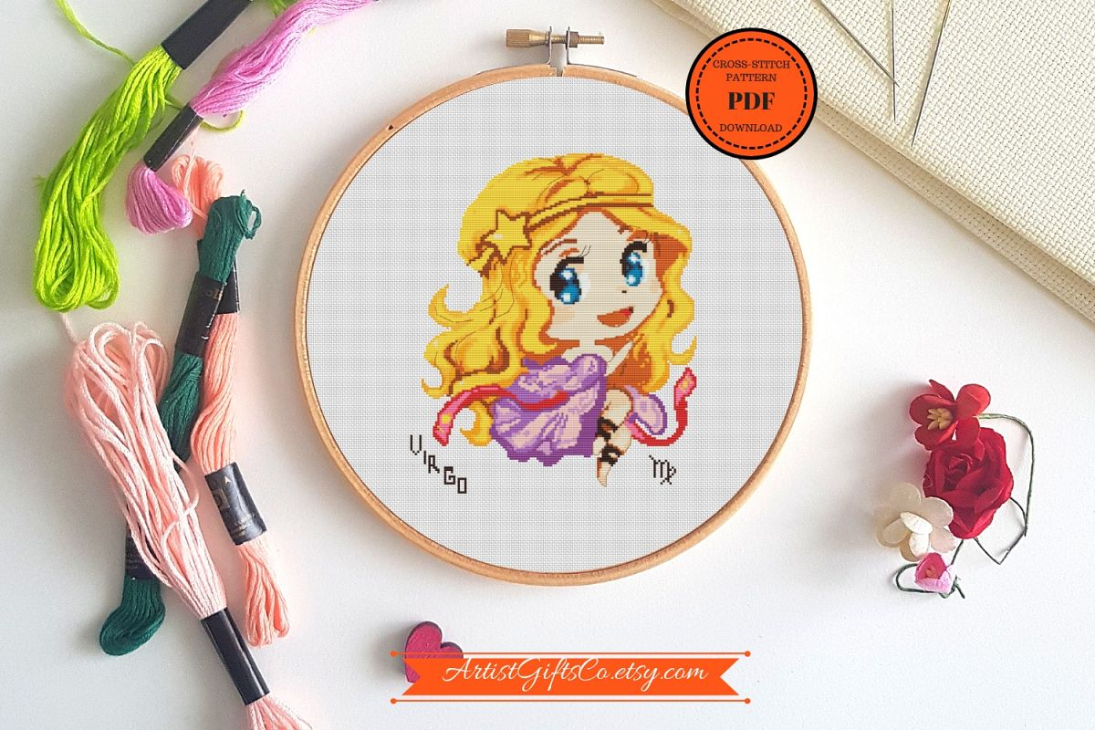 Cutest Virgo for September birthday cross stitch pattern PDF example image 1