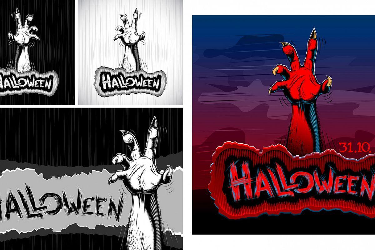 Vector Halloween Zombie Hand Vector Set example image 1