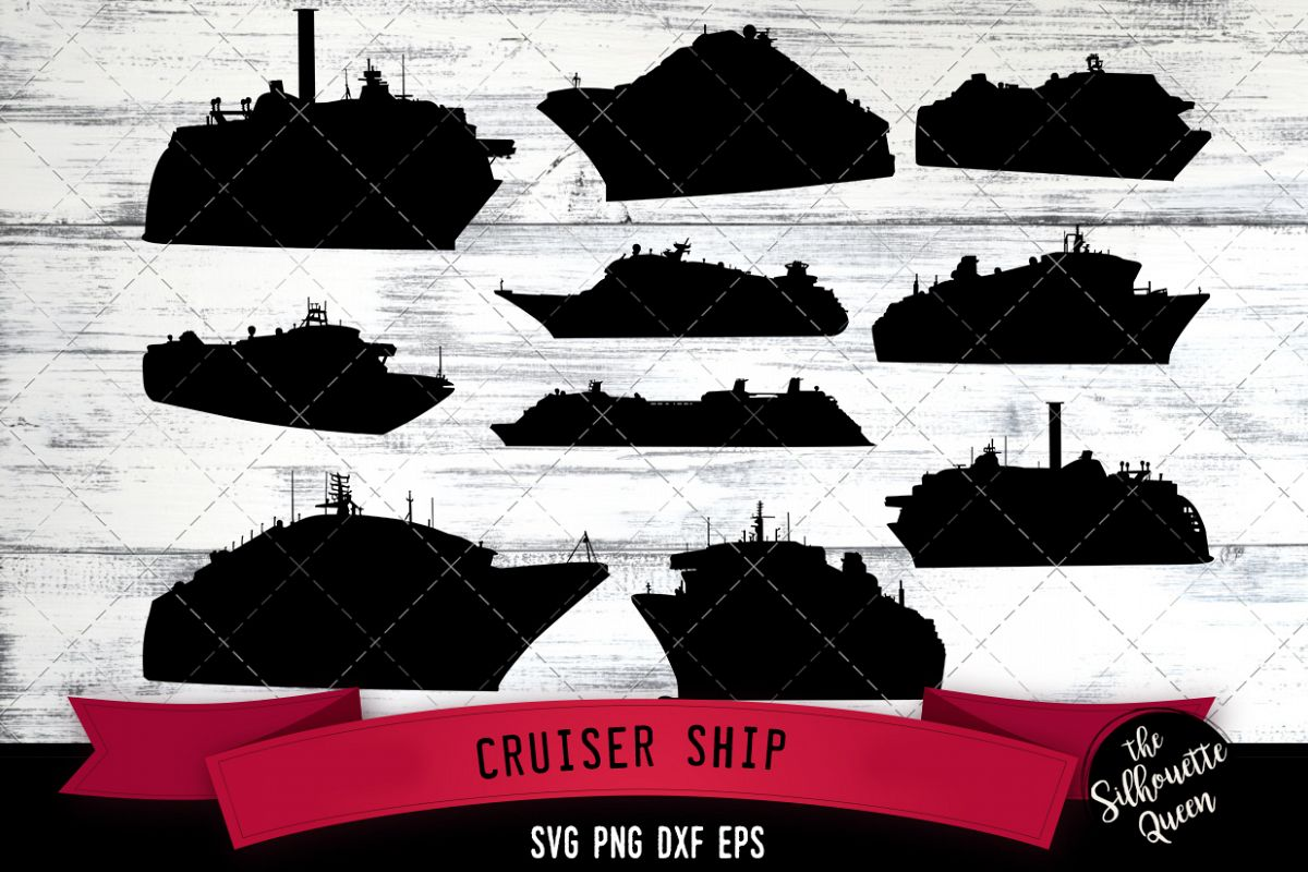 Cruiser Ship svg file, boat svg cut file, silhouette studio example image 1