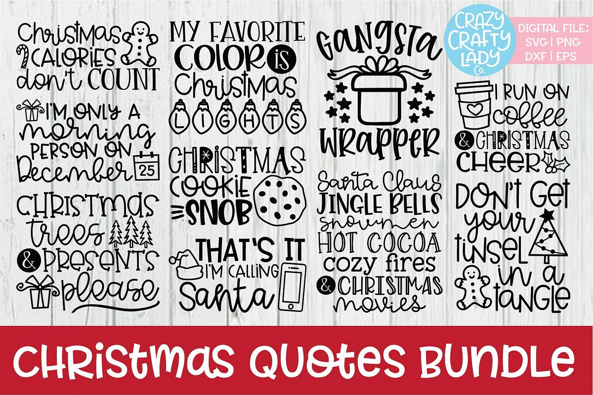 Christmas Quotes SVG DXF EPS PNG Cut File Bundle example image 1