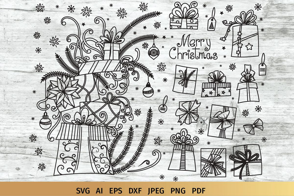 Christmas Gifts Doodles SVG example image 1