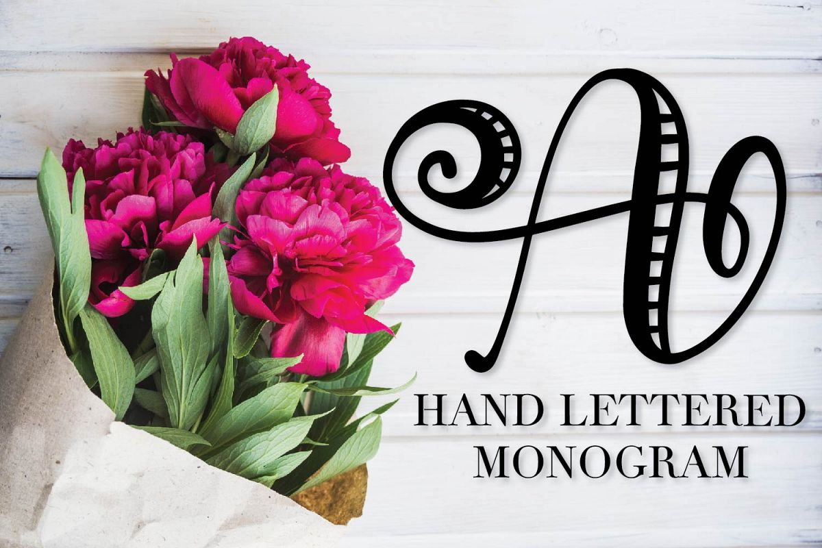 Hand Lettered Stripe Monogram Initials Font example image 1
