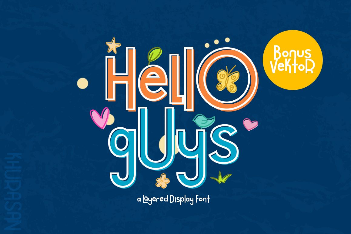 Hello Guys Layered Font example image 1