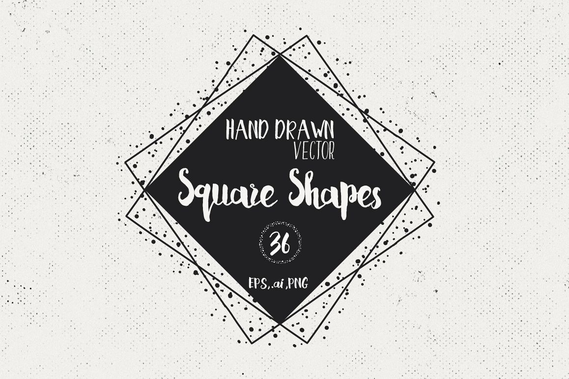 36 Hand Drawn Square Shapes - logo elements example image 1