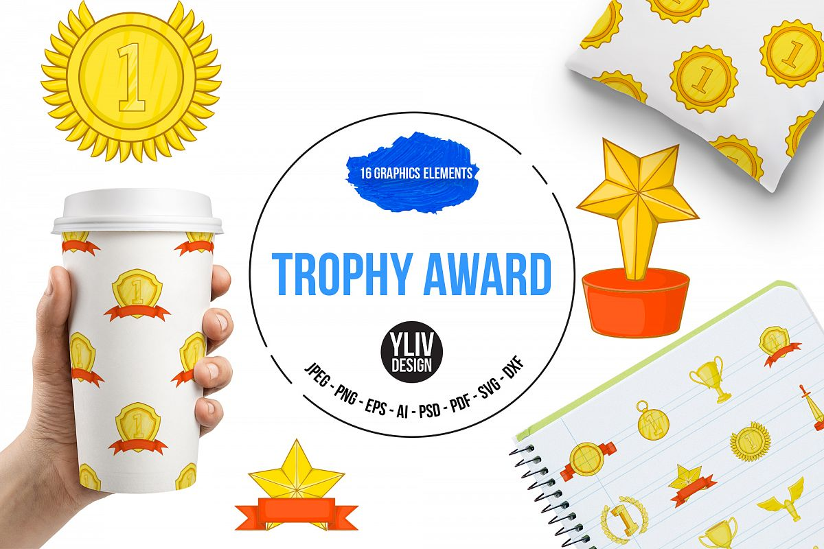 Trophy award icons set, in cartoon style example image 1