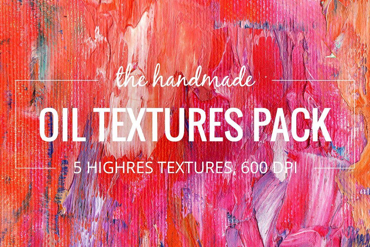 5 Abstract Oil Paint Textures by le gen Design Bundles