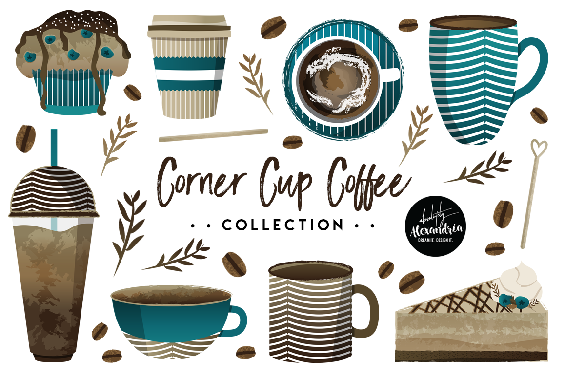 Corner Cup Coffee Clipart Graphics & Digital Paper Patterns Bundle example image 1
