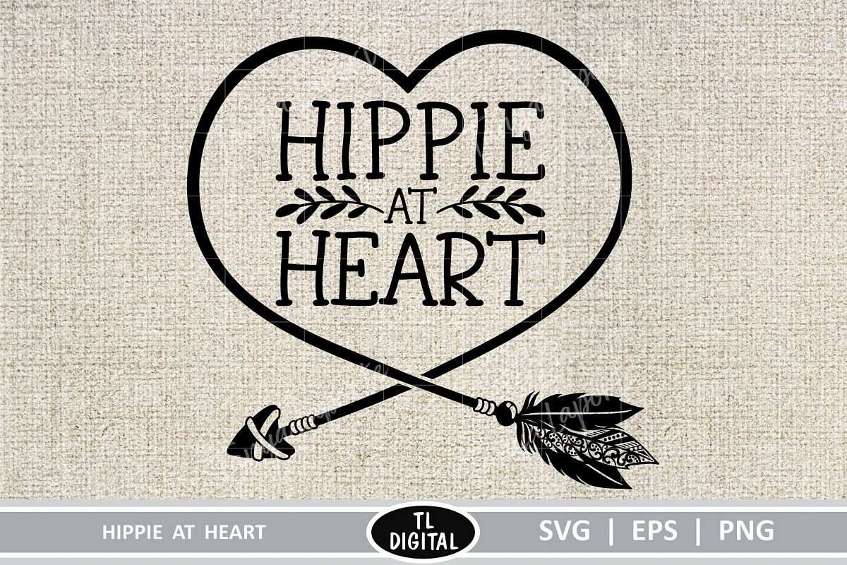Hippie at Heart - Boho Graphic - SVG|EPS|PNG