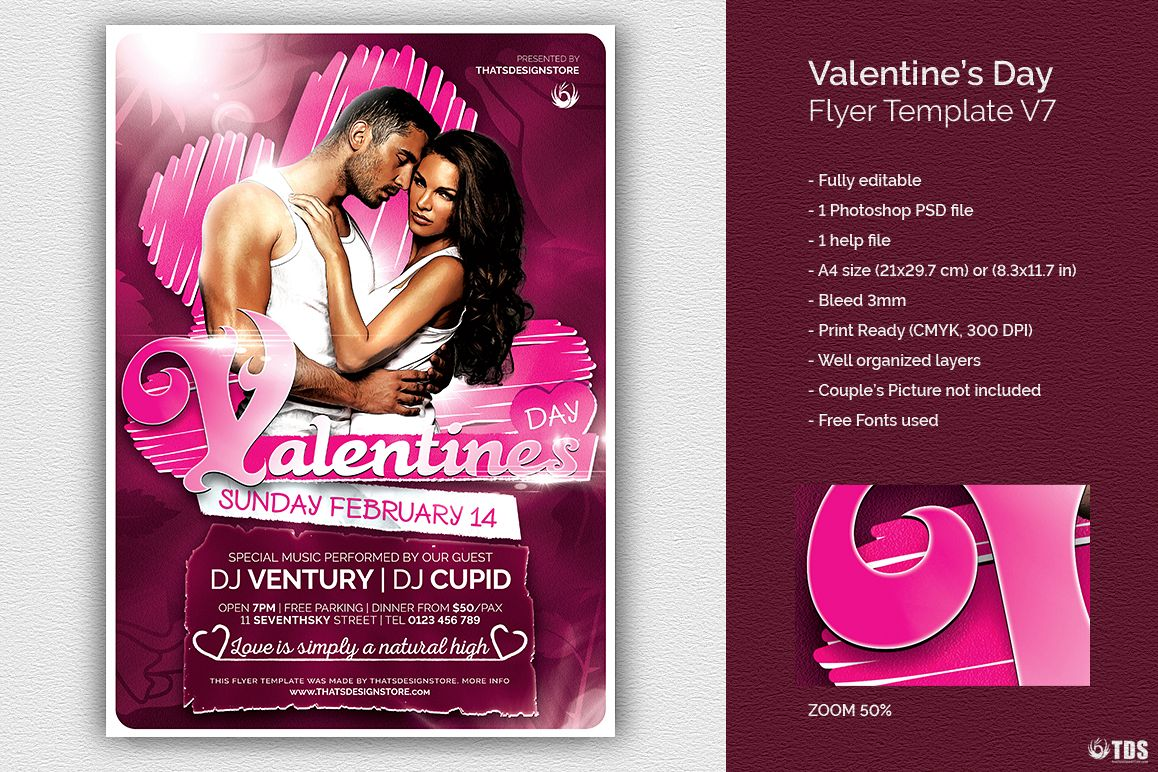 Valentines Day Flyer Template V7 example image 1