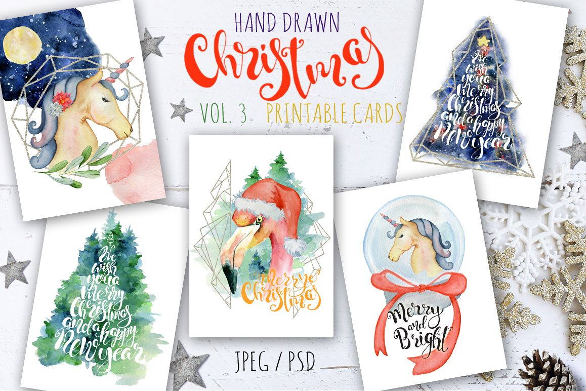 Christmas watercolor cards Vol.3 example image 1