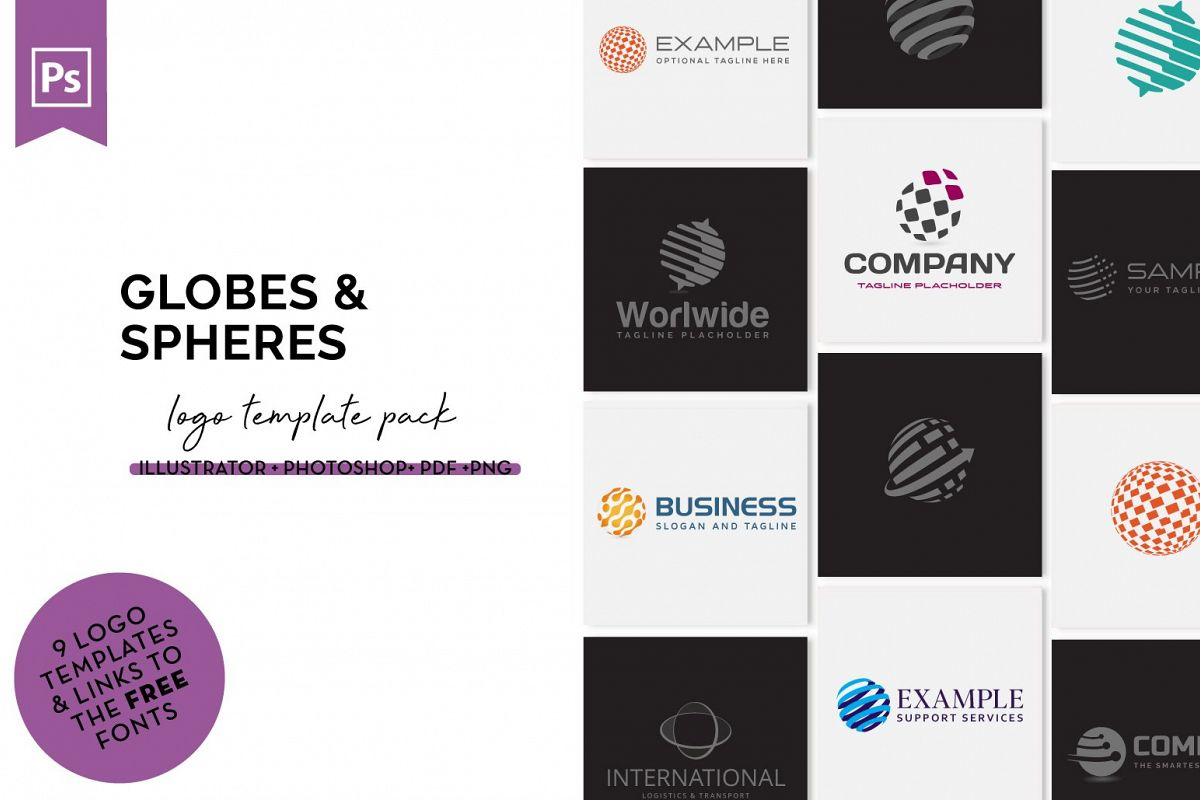 Globes & Spheres Logo Design Set example image 1