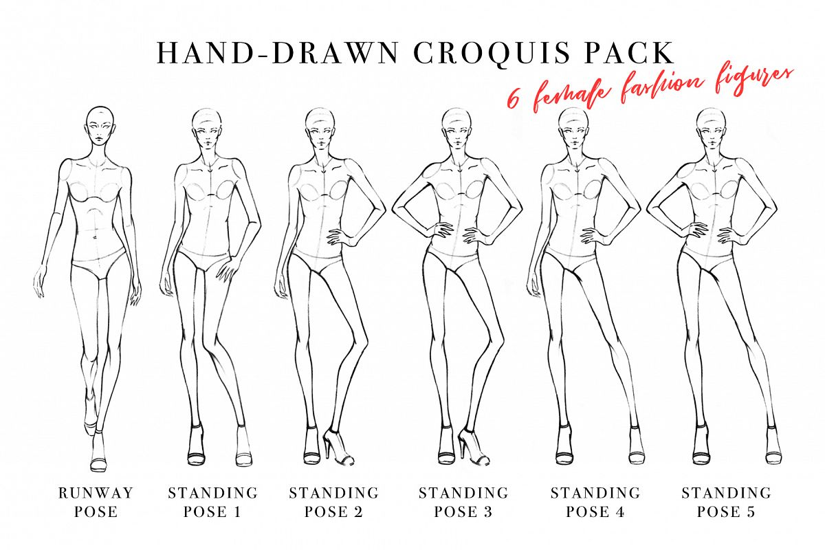picture relating to Printable Fashion Croquis known as Girl Determine Croquis Pack for Style Case in point