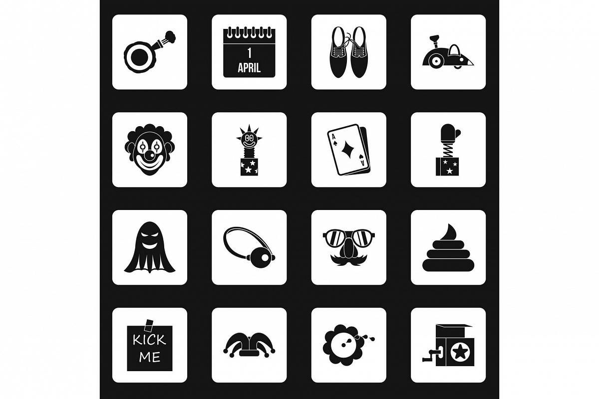 April fools day icons set squares vector example image 1