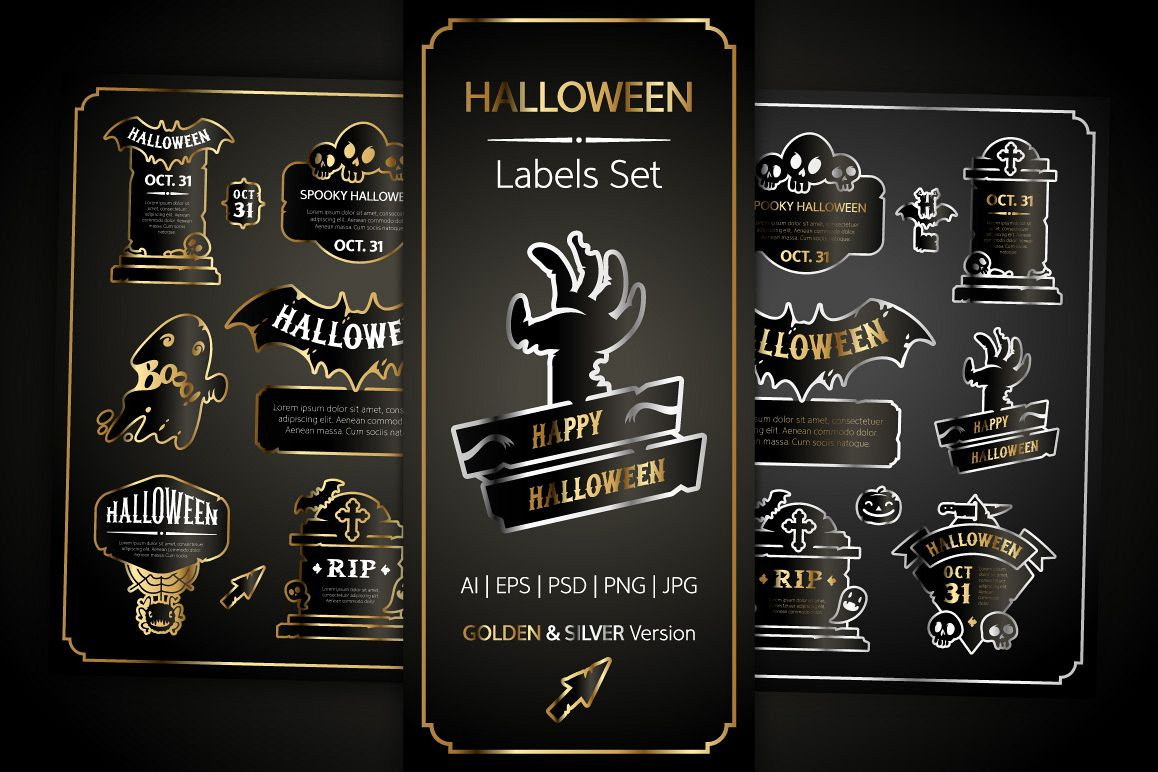 Halloween Design Golden Labels Set example image 1