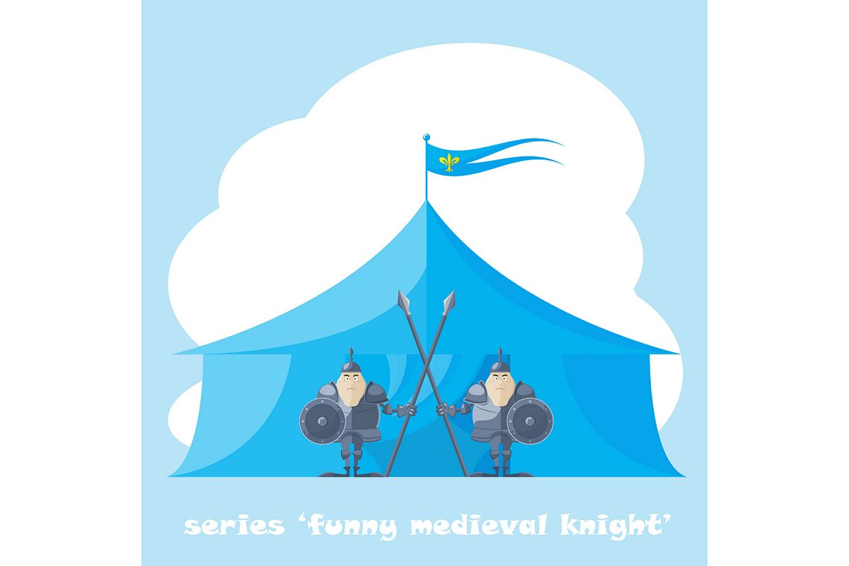 2 figure funny medieval knight or soldier.  Vector illustration (eps10) example image 1